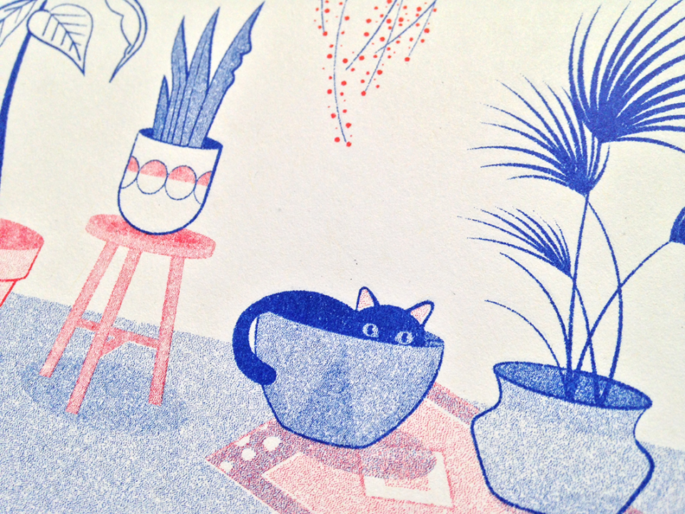Cat with plants risograph by Nazaret Escobedo.