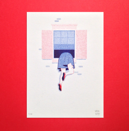 Window is better risograph by Nazaret Escobedo