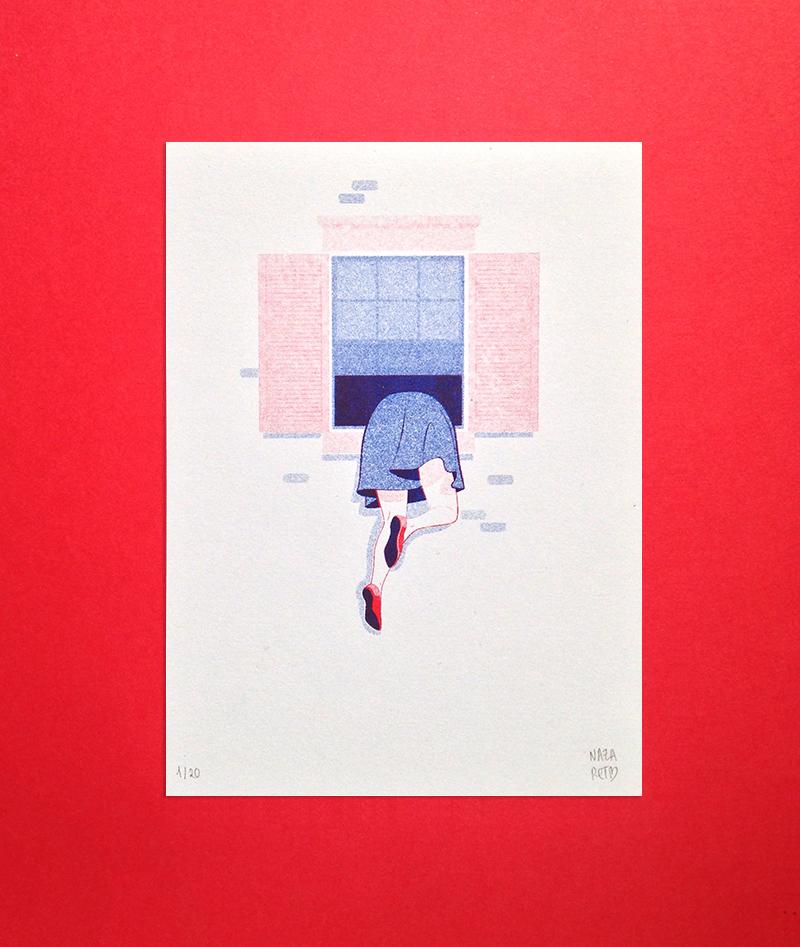 Window is better risograph by Nazaret Escobedo