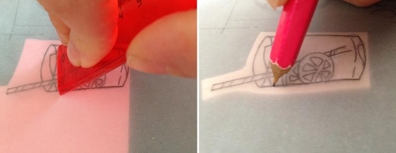 En las planchas de Milan, Factis y Speedball, podrás traspasar el dibujo simplemente raspando un poco la superficie del papel, pero con Softcut eso no funcionará y tendrás que redibujar